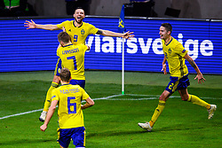 November 20, 2018 - Stockholm, SWEDEN - 181120 Ludwig Augustinsson , Sebastian Larsson and Mikael Lustig celebrates with Marcus Berg of Sweden after the 2-0 goal during the Nations League football match between Sweden and Russia on November 20, 2018 in Stockholm  (Credit Image: © Simon HastegRd/Bildbyran via ZUMA Press)