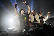 Skrillex performing at a secret warehouse in Brooklyn, New York as part of his Brooklyn Takover series on February 14, 2014.