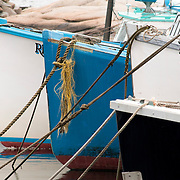 The bows of lobster boats at a pier in Rockport, Massachusetts, on Cape Ann, which has a 300 year tradition of commercial fishing.