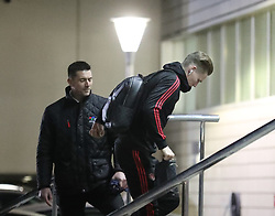 The Manchester United team arrive at The Lowry Hotel on Friday to prepare for their Premier League match against Fulham………… Scott McTominay.