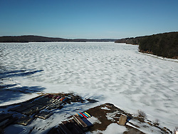 Scenic drone views over the beautiful frozen 5,700 acre Lake Wallenpaupack in Pike County and the 117 acre Leaser Lake in Lehigh County on  Monday, Feb. 4, 2019 in Eastern, PA. (Photo / Chris Post)
