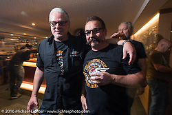 Stephan Burg and Axel Schearer at the Custom Chrome Europe evening party in the old town after a long day at the Intermot Motorcycle Trade Fair. Cologne, Germany. Friday October 7, 2016. Photography ©2016 Michael Lichter.