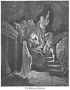 Resurrection of Lazarus [John 11:41-43] From the book 'Bible Gallery' Illustrated by Gustave Dore with Memoir of Dore and Descriptive Letter-press by Talbot W. Chambers D.D. Published by Cassell & Company Limited in London and simultaneously by Mame in Tours, France in 1866