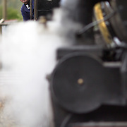 The engine driver peers out of the cockpit of the Kingston Flyer vintage steam train at Saturday's relaunch of the historic locomotives at Fairlight near Queenstown, Central Otago, New Zealand, 29th October 2011. Photo Tim Clayton...