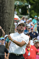 August 9, 2018 - Town And Country, Missouri, U.S - BUBBA WATSON from Bagdad Florida, USA  watches his tee shot on hole number 6 during round one of the 100th PGA Championship on Thursday, August 8, 2018, held at Bellerive Country Club in Town and Country, MO (Photo credit Richard Ulreich / ZUMA Press) (Credit Image: © Richard Ulreich via ZUMA Wire)