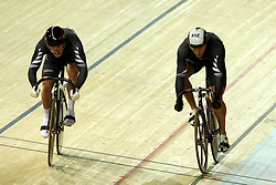 Michael Webster and Edward Dawkins of New Zealand during the men's sprint bronze final held at the velodrome at the Indira Gandhi Sports Complex in New Delhi, India on the 7 October 2010..Photo by:  Ron Gaunt/SPORTZPICS/PHOTOSPORT