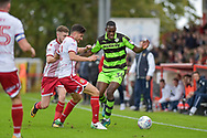Forest Green Rovers Isaiah Osbourne(34) and Stevenage Midfielder, Jonathan Smith (2) challenge for the ball during the EFL Sky Bet League 2 match between Stevenage and Forest Green Rovers at the Lamex Stadium, Stevenage, England on 21 October 2017. Photo by Adam Rivers.