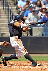 March 18, 2018 - Tampa, FL, U.S. - TAMPA, FL - MAR 18: Brett Gardner (11) of the Yankees at bat during the game between the Miami Marlins and the New York Yankees on March 18, 2018, at George M. Steinbrenner Field in Tampa, FL. (Photo by Cliff Welch/Icon Sportswire) (Credit Image: © Cliff Welch/Icon SMI via ZUMA Press)