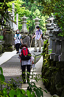 Henro Pilgrims at Unpenji - Temple No. 66 on the Shikoku Pilgrimage. Although counted as being in Kagawa Prefecture, it's actually just across the prefectural border in Tokushima. Located at an elevation of 911 metres, it is the highest temple on thepilgrimage andit's one the nansho or 'difficult places' that test the will of pilgrims although the cable car that starts in Kagawa makes it much easier to get up to the top now. In the temple grounds are masses of stone rakan statues of followers of the Buddha. There are also other statues of Kannon and Fudo, which are both National Treasures.  The temple was founded by Kukai in his youth and was dedicated by Emperor Kameyama who planted a gingko tree in the grounds.  At one time in its heyday the temple had seven shrines, twelve affiliated halls, and eight branch temples.