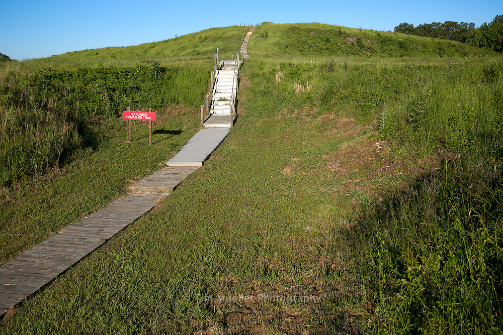 Mound A at Poverty Point State Historic Site is the largest mound at the site. Located just west of the enclosure of ridges, mound A is thought to represent a flying bird. It stands more than 70-feet high and muesures 640-feet along the wing and 710-feet from head to tail.
