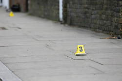 © Licensed to London News Pictures. 12/05/2019. London, UK. A crime scene on Tollington Road at the junction of Annette Road, Islington in north London as Met police launch an investigation into the death of a man who was found in a wheelie bin behind a Waitrose store shortly before 4pm on Saturday 11 May 2019.. Photo credit: Dinendra Haria/LNP
