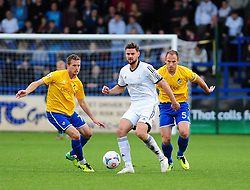 AFC Telford's Sam Smith is challenged by Bristol Rovers' Lee Mansell and Bristol Rovers' Mark McCrystal - Photo mandatory by-line: Neil Brookman/JMP - Mobile: 07966 386802 - 01/11/2014 - SPORT - Football - Telford - New Bucks Head Stadium - AFC Telford v Bristol Rovers - Vanarama Football Conference