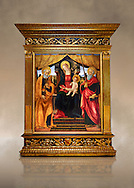 Gothic altarpiece of Madonna and Child with St Peter and Paul by Vicenzo Frediani, circa 1490, tempera and gold leaf on wood.  National Museum of Catalan Art, Barcelona, Spain, inv no: MNAC  64978. Against a art background. . .<br /> <br /> If you prefer you can also buy from our ALAMY PHOTO LIBRARY  Collection visit : https://www.alamy.com/portfolio/paul-williams-funkystock/gothic-art-antiquities.html  Type -     MANAC    - into the LOWER SEARCH WITHIN GALLERY box. Refine search by adding background colour, place, museum etc<br /> <br /> Visit our MEDIEVAL GOTHIC ART PHOTO COLLECTIONS for more   photos  to download or buy as prints https://funkystock.photoshelter.com/gallery-collection/Medieval-Gothic-Art-Antiquities-Historic-Sites-Pictures-Images-of/C0000gZ8POl_DCqE