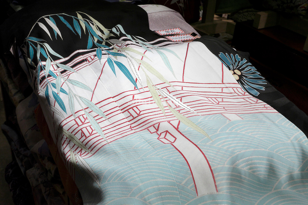 old style kimono fabric with traditional Japanese illustration