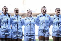 Sarah Bern of England Women with the England squad line up for the national anthem prior to kick off - Mandatory by-line: Ryan Hiscott/JMP - 24/02/2019 - RUGBY - Cardiff Arms Park - Cardiff, Wales - Wales Women v England Women - Women's Six Nations