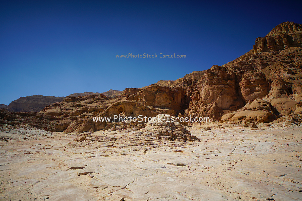 Landscape Timna Valley, Arava, Israel. The Timna Natural and Historic park is located in the southwestern Arava, some 30 km. north of the Gulf of Eilat.