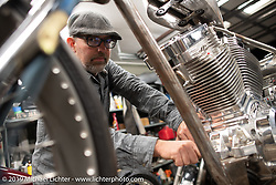 Ben Jordan working on his Passion Built Motorcycles as Art exhibition custom bike in his home garage after the Congregation Show. Charlotte, NC. USA. Sunday April 15, 2018. Photography ©2018 Michael Lichter.
