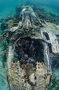 P38 WW11 American fighter plane<br /> Rouw Island<br /> Cenderawasih Bay<br /> West Papua<br /> Indonesia