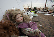 Union Beach NJ, November 16, Dolls in front of a  church destroyed by superstorm Sandy's surge, that damaged over 200 homes in Union Beach alone. Hurricane Sandy's strength is being blamed on climate change by many scientists.