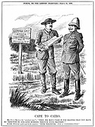 Cecil John Rhodes (1852-1902) English-born South African statesman, asking the German emperor for permission to run a telegraph line through German East Africa. Cape To Cairo, cartoon by John Tenniel from 'Punch', London, 22 March 1899. Engraving