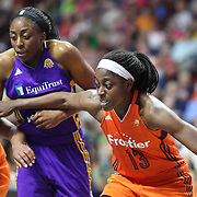 UNCASVILLE, CONNECTICUT- JULY 15:  Chiney Ogwumike #13 of the Connecticut Sun defends against her sister Nneka Ogwumike #30 of the Los Angeles Sparks at a free throw during the Los Angeles Sparks Vs Connecticut Sun, WNBA regular season game at Mohegan Sun Arena on July 15, 2016 in Uncasville, Connecticut. (Photo by Tim Clayton/Corbis via Getty Images)