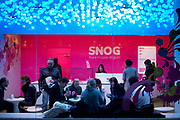 Night time scene in Snog frozen yogurt bar in Soho, London.