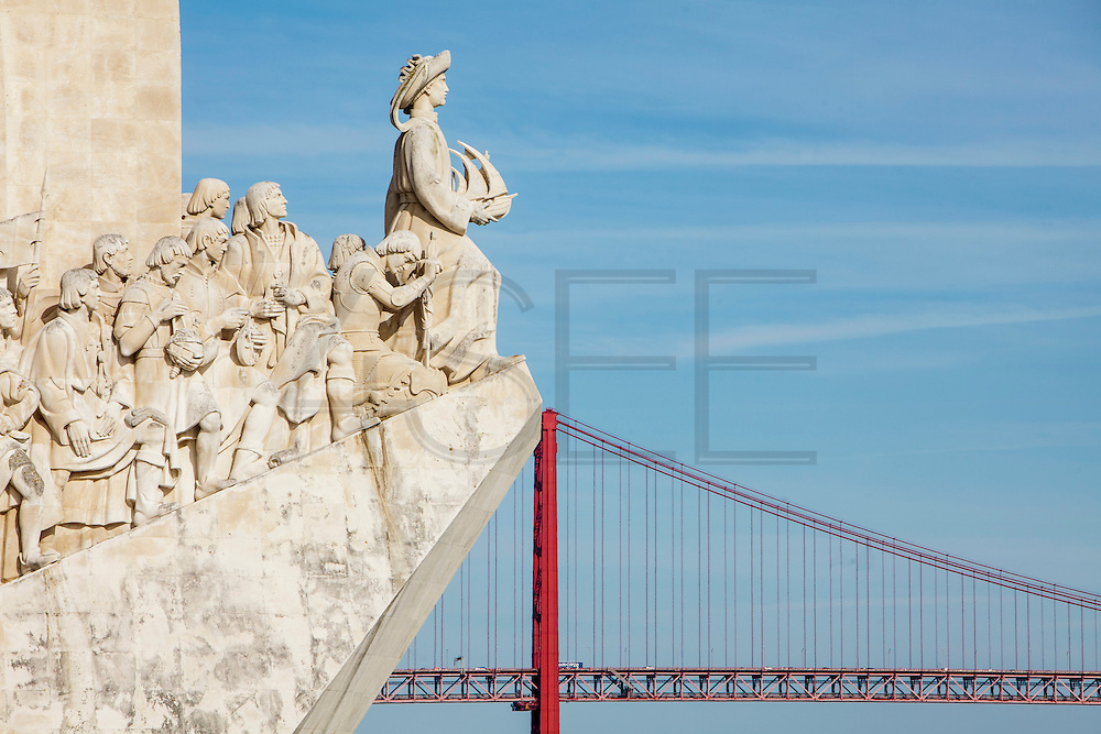 Discoveries Monument in Lisbon and the 25th of April bridge over Tagus river (Rio Tejo). Located along the river were ships departed to explore and trade with India and Orient, the monument celebrates the Portuguese Age of Discovery (or Age of Exploration) during the 15th and 16th centuries and it was Inaugurated on 9 August 1960, its completion was one of several projects nationwide intended to mark the Comemorações Henriquinas (the celebrations marking the anniversary of the death of Henry the Navigator).