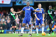 Mikel John Obi of Chelsea reacts angrily after not being awarded a foul.  Barclays Premier league match, Chelsea v Stoke city at Stamford Bridge in London on Saturday 5th March 2016.<br /> pic by John Patrick Fletcher, Andrew Orchard sports photography.