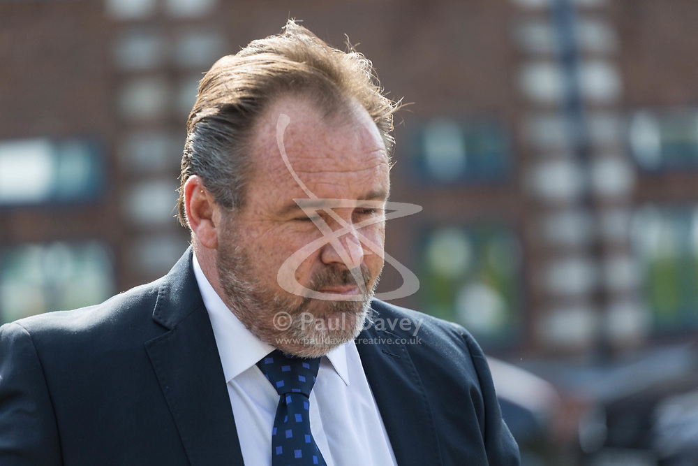 Former BA pilot Julian Monaghan, 49, arrives at Croydon Magistrates Court where he faces charges of being 4 times over the drink-fly limit after being hauled off a flight by armed police before take-off for Mauritius. Croydon, June 06 2018.