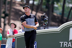 June 22, 2018 - Cromwell, CT, U.S. - CROMWELL, CT - JUNE 22: Bryson DeChambeau of the United States watches his drive on 18 during the Second Round of the Travelers Championship on June 22, 2018, at TPC River Highlands in Cromwell, Connecticut. (Photo by Fred Kfoury III/Icon Sportswire) (Credit Image: © Fred Kfoury Iii/Icon SMI via ZUMA Press)