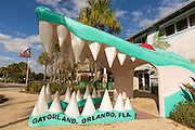 Entrance to Gatorland theme park and wildlife preserve located along South Orange Blossom Trail in Orlando, Florida. It was founded by Owen Godwin in 1949.