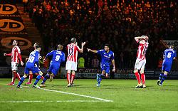 Rochdale's Rhys Bennett celebrates after scoring Rochdale's first goal - Photo mandatory by-line: Matt McNulty/JMP - Mobile: 07966 386802 - 26/01/2015 - SPORT - Football - Rochdale - Spotland Stadium - Rochdale v Stoke City - FA Cup Fourth Round
