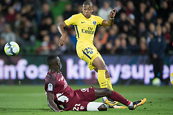 Kylian MBappe of PSG and Moussa Niakhate of FC Metz compete during the Ligue 1 match between FC Metz and Paris Saint Germain at the Stadium Saint Symphorien in Metz, FRANCE on September 8, 2017.Paris Saint Germain won FC Metz  with 5-1. (Credit Image: © Jack Chan/Chine Nouvelle/Xinhua via ZUMA Wire)