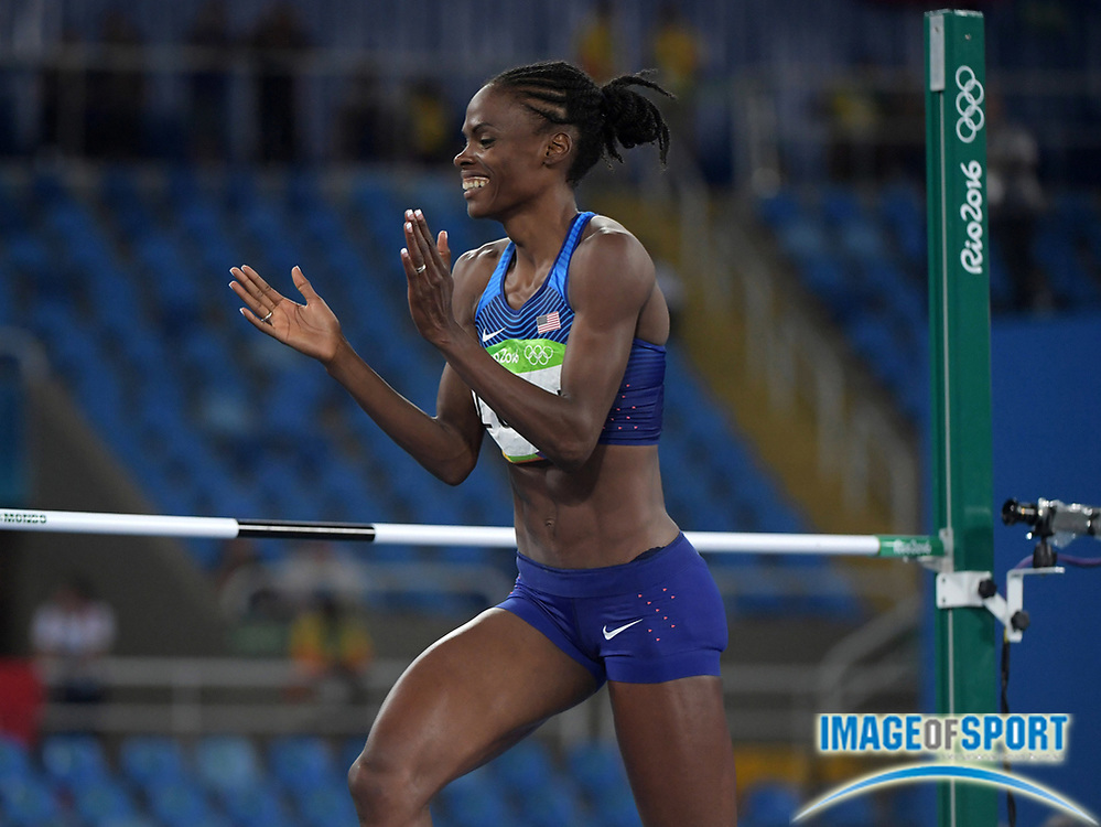 Aug 20, 2016; Rio de Janeiro, Brazil; Chaunte Lowe (USA) celebrates after placing fourth in the women's high jump at 6-5½ (1.97m) during the 2016 Rio Olympics at Estadio Olimpico Joao Havelange. <br /> <br /> *