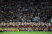 May 25th 2011: Maroons players lock arms for the Australian Anthem during game 1 of the 2011 State of Origin series at Suncorp Stadium in Brisbane, Australia on May 25, 2011. Photo by Matt Roberts/mattrIMAGES.com.au / QRL