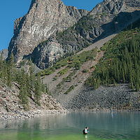 An employee of Canada's Banff National Park examines green dye poured into Moraine Lake by a misguided visitor.