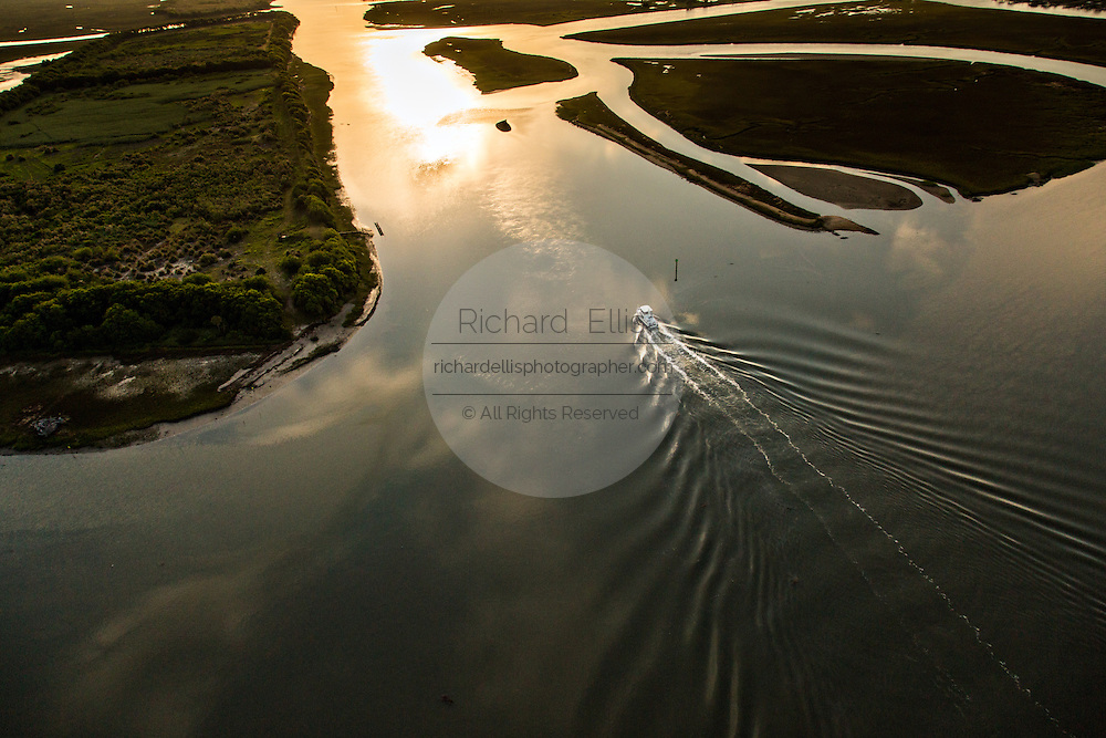 Aerial view of the intracoastal waterway at Isle of Palms, SC.