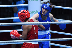 JAKARTA, Sept. 1,2018  Oh Yeonji (R) of South Korea competes against Sudaporn Seesondee of Thailand during Women's Light (60kg) Final of Boxing at the 18th Asian Games in Jakarta, Indonesia, Sept. 1, 2018. (Credit Image: © Pan Yulong/Xinhua via ZUMA Wire)