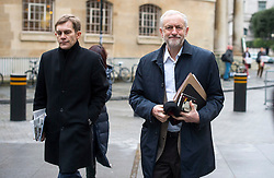 © Licensed to London News Pictures. 17/01/2016. London, UK. Labour party leader JEREMY CORBYN (right)  arrives at BBC Broadcasting House with his adviser SEUMAS MILNE (left)  to appear on The Andrew Marr Show on BBC One. Photo credit: Ben Cawthra/LNP