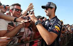 Red Bull's Daniel Ricciardo the paddock day of the 2018 British Grand Prix at Silverstone Circuit, Towcester.