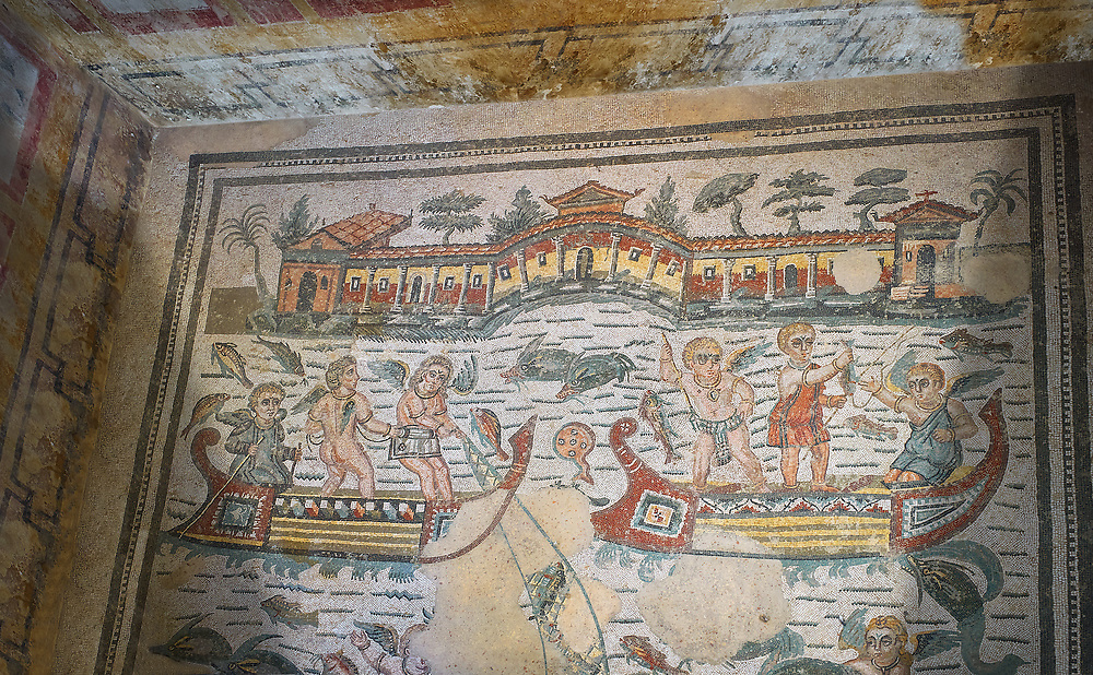 Wide picture of the Roman mosaics of the Room of Fishing Cupids depicting cupids fishing from boats, room no 24  at the Villa Romana del Casale, first quarter of the 4th century AD. Sicily, Italy. A UNESCO World Heritage Site. .<br /> <br /> If you prefer to buy from our ALAMY PHOTO LIBRARY  Collection visit : https://www.alamy.com/portfolio/paul-williams-funkystock/villaromanadelcasale.html<br /> Visit our ROMAN MOSAIC PHOTO COLLECTIONS for more photos to buy as buy as wall art prints https://funkystock.photoshelter.com/gallery/Roman-Mosaics-Roman-Mosaic-Pictures-Photos-and-Images-Fotos/G00008dLtP71H_yc/C0000q_tZnliJD08