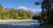 Panoramic view up the Martyr River toward the Olivine Range, West Coast, New Zealand.