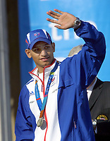 Foto: Colorsport/Digitalsport<br /> NORWAY ONLY<br /> <br /> Amir Khan (GBR) Boxing silver medalist,salutes the crowd. Olympic Parade of Medal winners in London. Trafalgar Square. 18/10/2004.