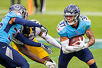 NASHVILLE, TN - OCTOBER 25:  Amani Hooker #37 of the Tennessee Titans intercepts a pass in the end zone during a game against the Pittsburgh Steelers at Nissan Stadium on October 25, 2020 in Nashville, Tennessee.  The Steelers defeated the Titans 27-24.  (Photo by Wesley Hitt/Getty Images) *** Local Caption *** Amani Hooker