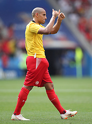 MOSCOW, June 23, 2018  Wahbi Khazri of Tunisia greets the audience after he exchanged jersey with Belgium's player after the 2018 FIFA World Cup Group G match between Belgium and Tunisia in Moscow, Russia, June 23, 2018. Belgium won 5-2. (Credit Image: © Wu Zhuang/Xinhua via ZUMA Wire)