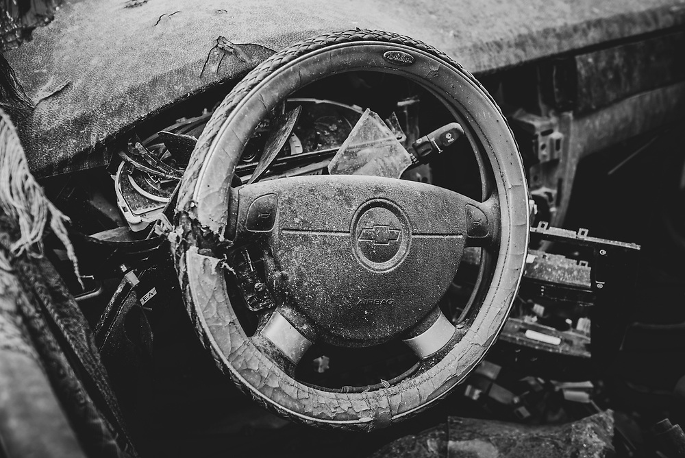 Steering wheel inside a Chevy vehicle destroyed during fighting between the Islamic State and coalition forces at Al-Salam hospital in Mosqul, Iraq, in 2016. <br /> <br /> (May 23, 2017)