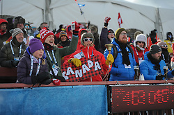 February 8, 2019 - Calgary, Alberta, Canada - Fans from Canada cheer for their team during Men's Relay of 7 BMW IBU World Cup Biathlon 2018-2019. Canmore, Canada, 08.02.2019 (Credit Image: © Russian Look via ZUMA Wire)