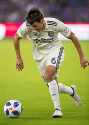 April 21, 2018 - Orlando, FL, U.S. - ORLANDO, FL - APRIL 21: San Jose Earthquakes midfielder Shea Salinas (6) drives to the goal during the MLS soccer match between the Orlando City FC and the San Jose Earthquakes at Orlando City SC on April 21, 2018 at Orlando City Stadium in Orlando, FL. (Photo by Andrew Bershaw/Icon Sportswire) (Credit Image: © Andrew Bershaw/Icon SMI via ZUMA Press)