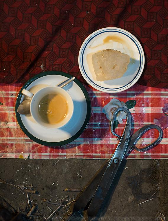 In Passu village, rock salt and milk tea. Gojal Region.