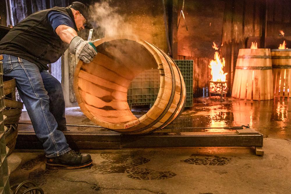Arturo Castillo works in the toasting room at Nadalie USA Cooperage in Calistoga.